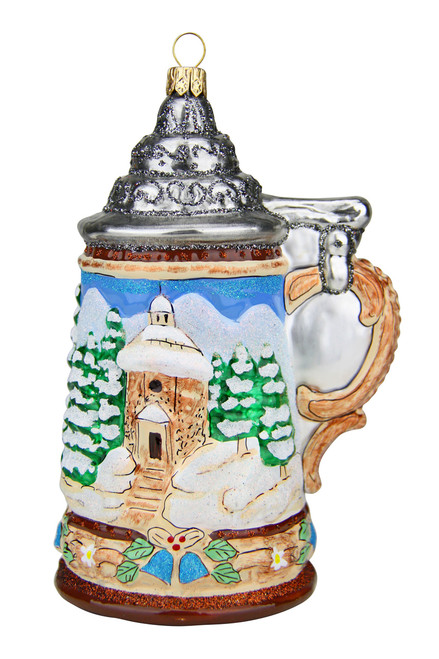 Alpine Santa and Silent Night Chapel Glass Christmas Ornament