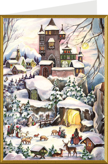 Winter Castle German Christmas Card