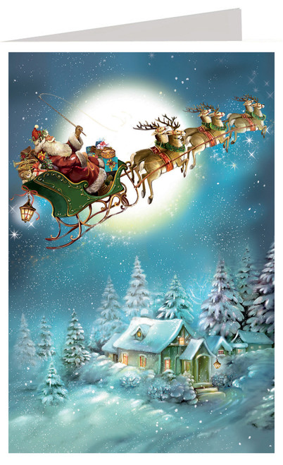 Night Before Christmas Santa Sleigh Ride German Advent Calendar Christmas Card