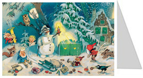Snowman in the Forest German Advent Calendar Christmas Card