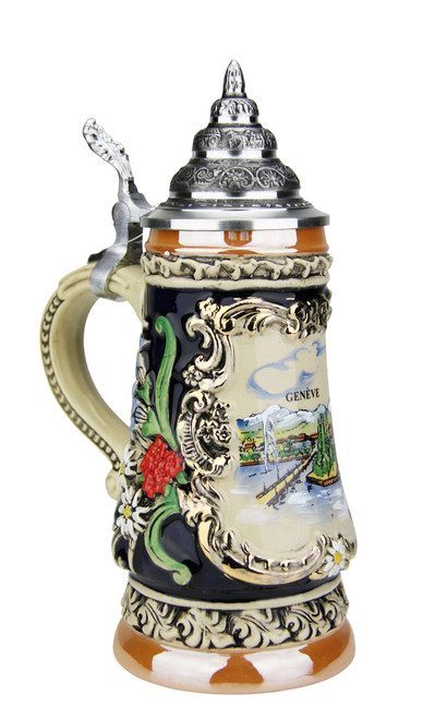 .25  Liter German Beer Stein with Hand Painted Vignette of Geneva