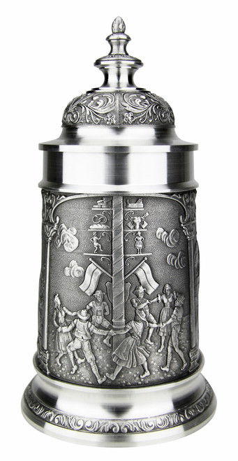 Bavarian Village Maypole Pewter Beer Stein