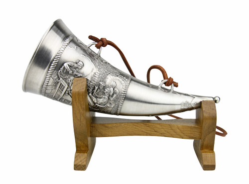 Beer Brewers Pewter Drinking Horn with Wooden Stand