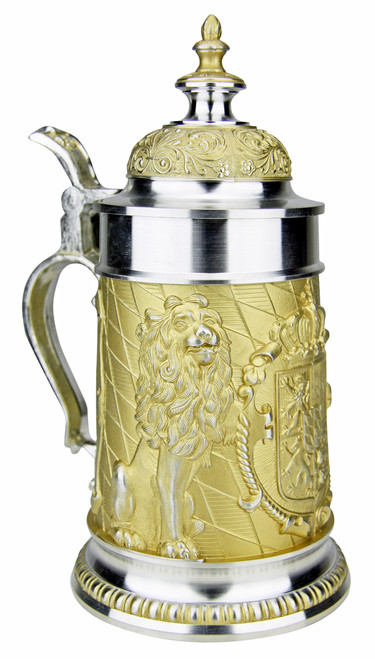 Land of Bavaria Pewter Beer Stein Golden Finish
