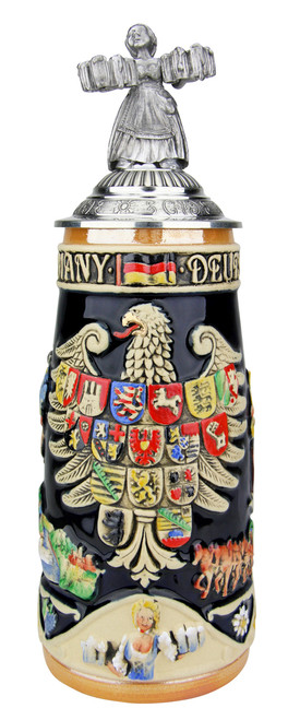 Deutschland Legacy Beer Stein with Pewter Beer Maiden Lid