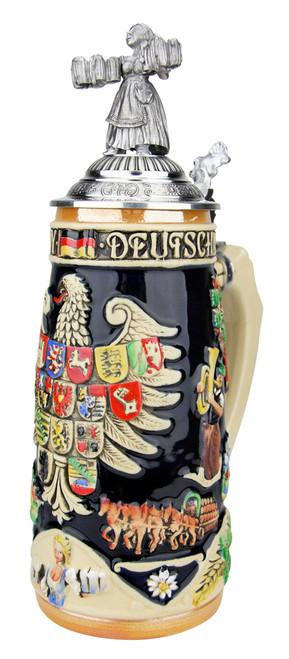 Deutschland Legacy Beer Stein with Pewter Beer Maiden Lid
