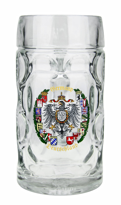 Dimpled Glass Beer Mug with 16 State Crests of Germany