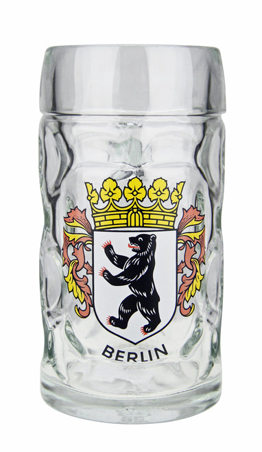 .5 Liter Dimpled Glass Beer Mug with Berlin Crest
