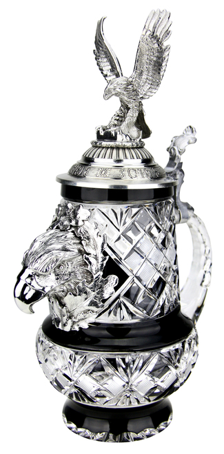 Lord of Crystal Eagle German Beer Stein Black | 3D Flying Eagle Lid