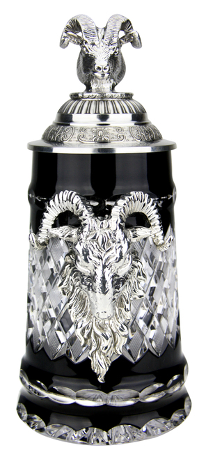 Lord of Crystal Ram German Beer Stein Black | 3D Ram Lid
