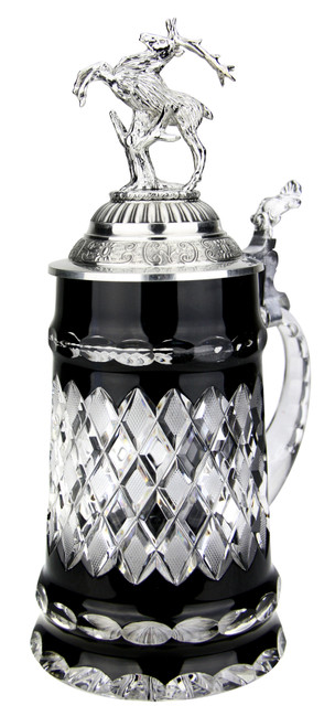 Lord of Crystal Black German Beer Stein | 3D Stag Lid