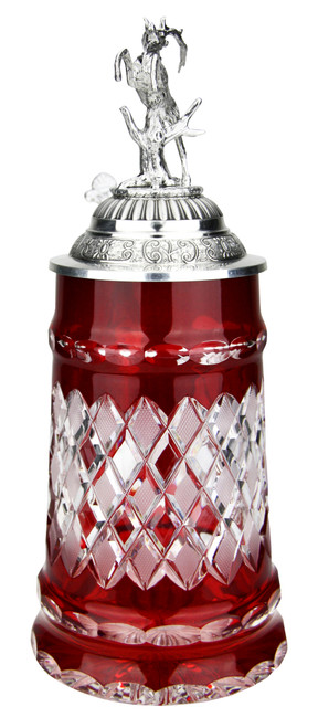 Lord of Crystal Red German Beer Stein | 3D Stag Lid