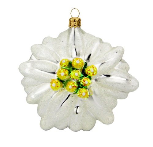 Edelweiss Alpine Flower Glass Christmas Ornament