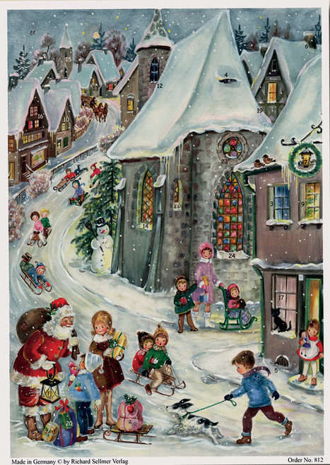 Tobogganing 1970s Reproduction German Christmas Advent Calendar