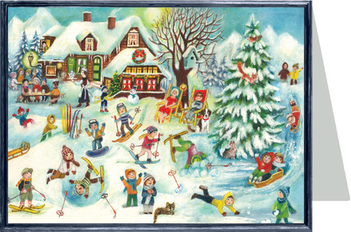 Ski Lodge German Christmas Card