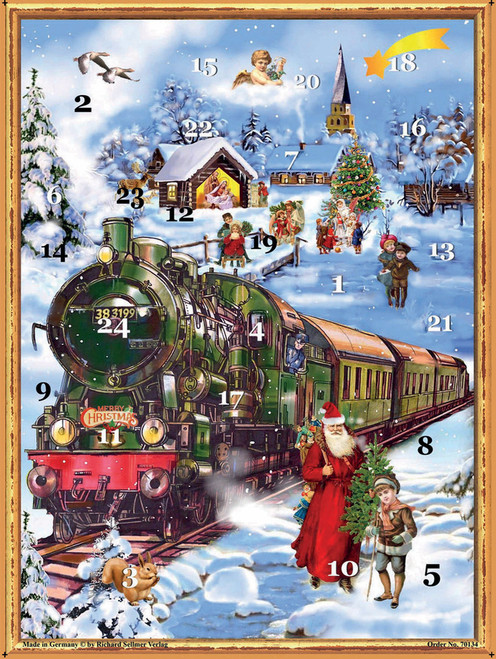 Santa and Christmas Train German Advent Calendar
