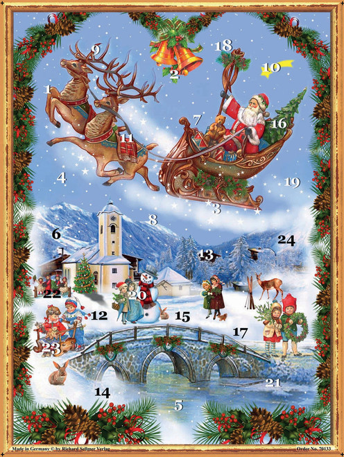 Santa in Sleigh German Advent Calendar