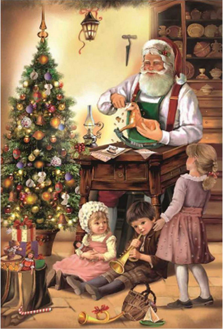 Woodworking Santa and Children German Christmas Advent Calendar