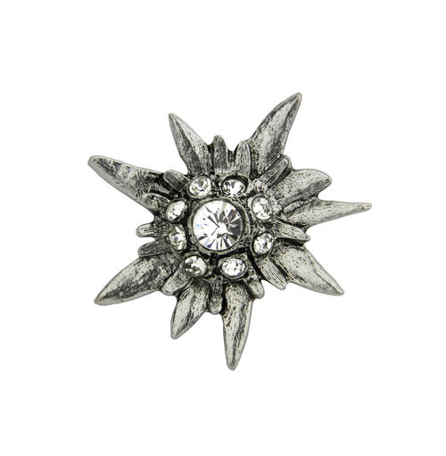 Rhinestone Edelweiss Flower German Hat Pin