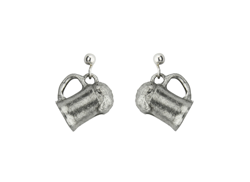 Beer Mug German Pewter Earrings