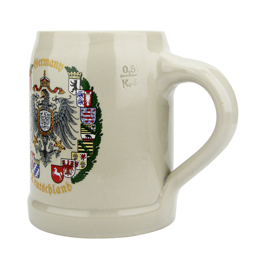 German Eagle and Crests Stoneware Beer Mug 0.5 Liter