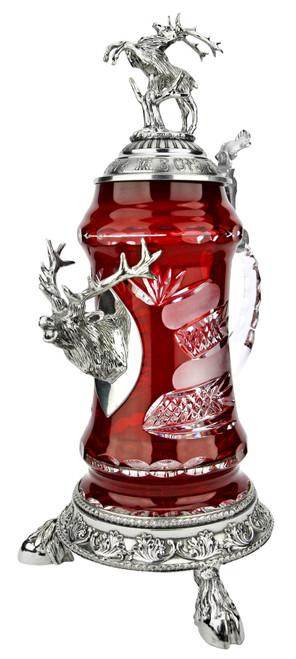Lord of Crystal Stag German Beer Stein Red | 3D Stag Lid | Hoof Feet