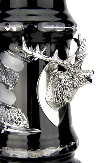 Lord of Crystal Stag German Beer Stein Black | 3D Stag Lid | Hoof Feet