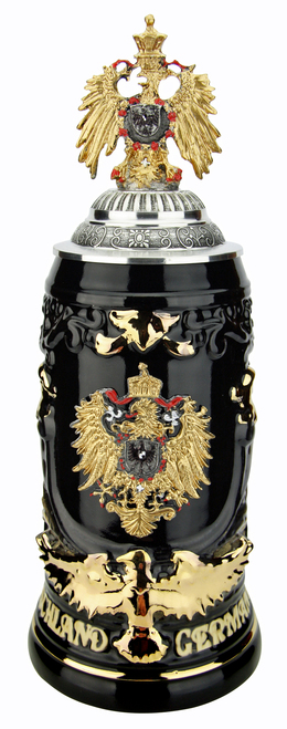 Deutschland Germany Eagle Beer Stein | Gilded Eagle Lid