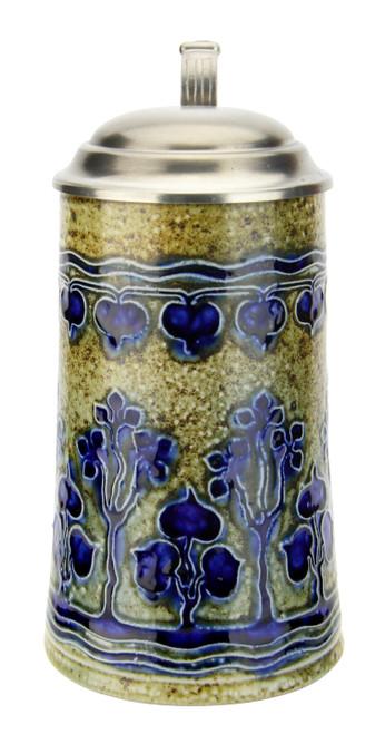 Art Nouveau Stylized Linden Tree Salt Glaze Beer Stein