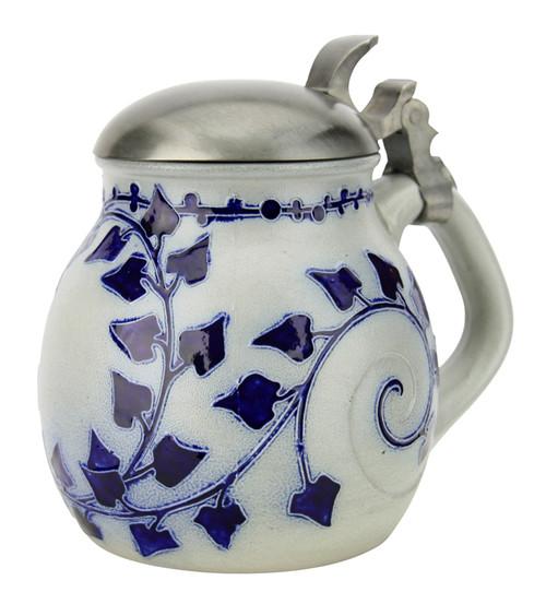 Art Nouveau Stylized Ivy Salt Glaze Beer Stein