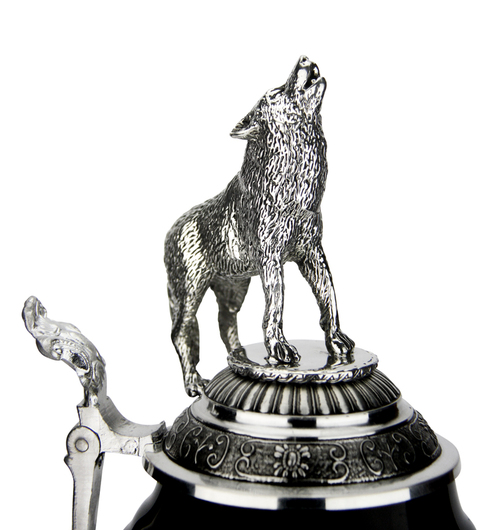 Lord of Crystal Wolf German Beer Stein Black | 3D Howling Wolf Lid | Wolf Paw Feet