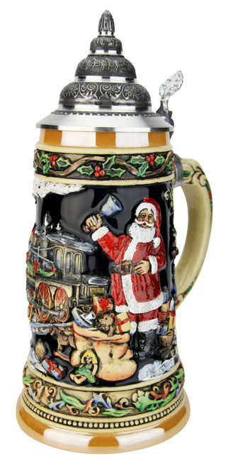 Santas Train German Christmas Beer Stein
