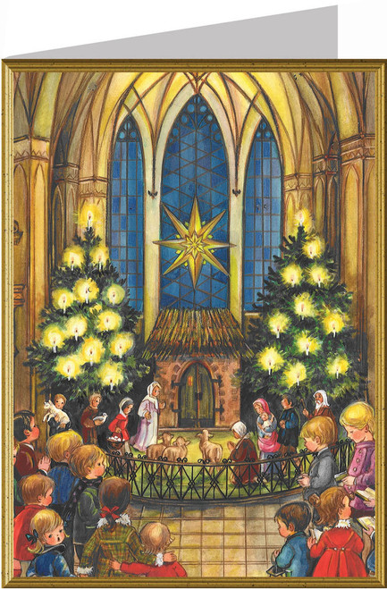 Christmas Eve Church Service German Christmas Card