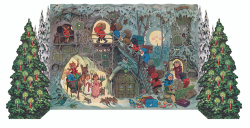 Gnomes Christmas 3D German Advent Calendar 1951 Reproduction