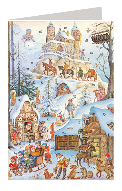 Fairy Tale Castle Scene German Advent Calendar Christmas Card