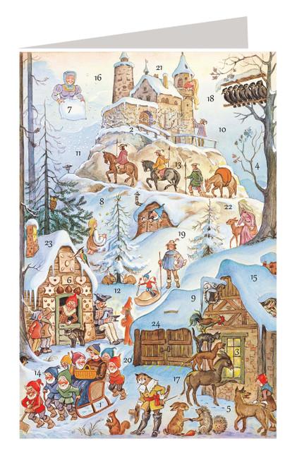 Fairy Tale Castle Scene German Advent Calendar Christmas Card