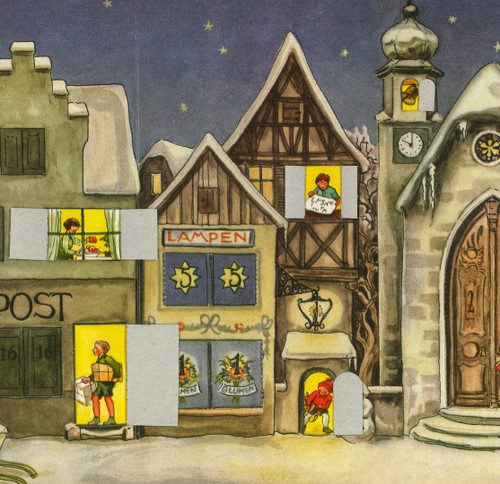 The Little Town 1946 Original Reprint German Advent Calendar