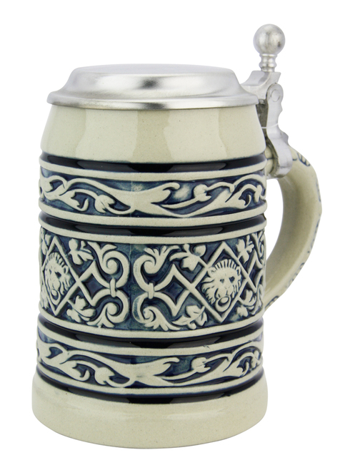 Lion Head Traditional Cobalt Stone Gray Finish Beer Stein