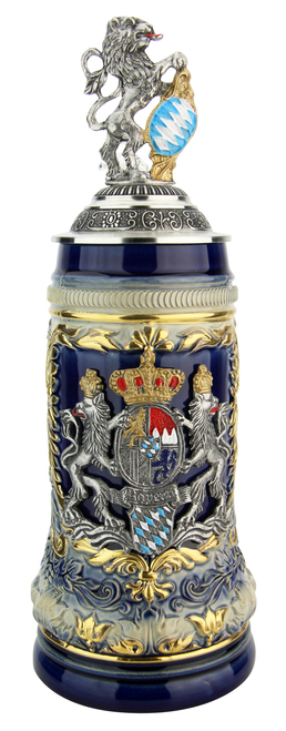 Bavaria Lion Crest Beer Stein with Bavarian Lion Lid