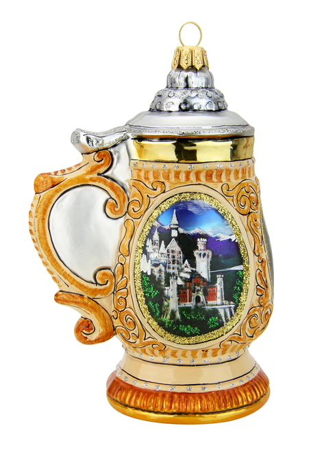Neuschwanstein King Ludwig Beer Stein Glass Christmas Ornament