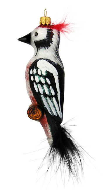 Woodpecker Glass Christmas Ornament