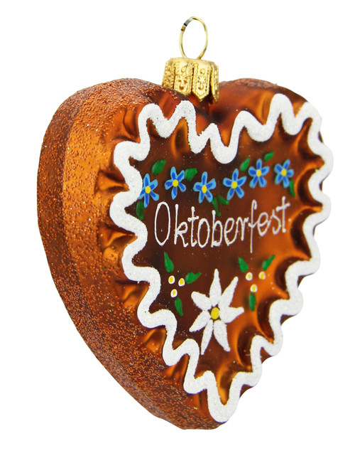 Oktoberfest Gingerbread Heart Glass Christmas Ornament