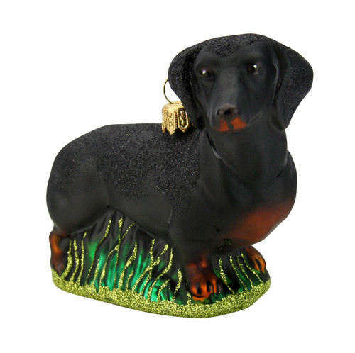 Dachshund Dog Glass Christmas Ornament