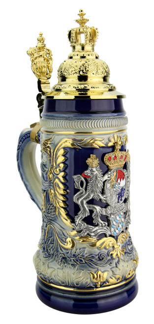 Bavaria Lion Crest Beer Stein with Gilded Royal Crown Lid