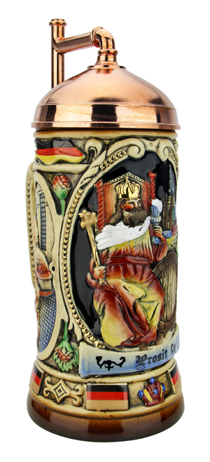 King Gambrinus Brewers Prosit Beer Stein | Copper Kettle Lid