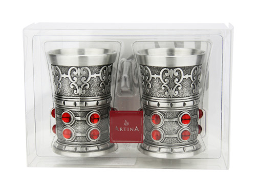 Pewter Rubin Swarovski Shot Cup 1.5oz | Set of 2