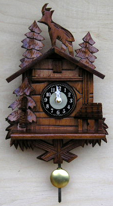 Black Forest Cabin German Mini Clock | Musical