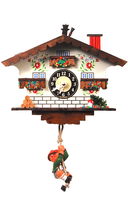 German Chalet Mini Clock with Moutain Climber Pendulum | Musical