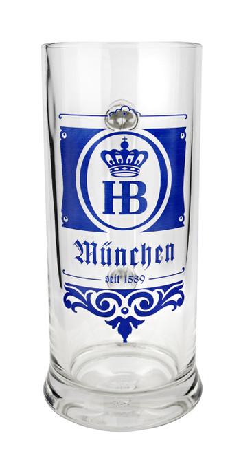 Hofbrauhaus HB Munchen 1589 Glass Beer Mug 0.5 Liter