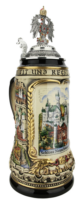 Neuschwanstein Castle German Beer Stein with Eagle Lid